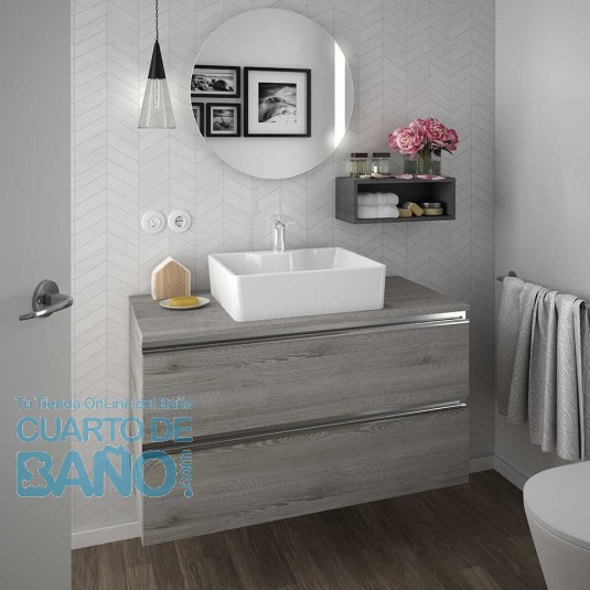 Mueble de baño SPIRIT Salgar suspendido 100 cm natural con LAVABO 22807