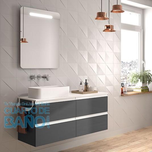mueble de baño SPIRIT Salgar suspendido 120 cm Gris Brillo con LAVABO