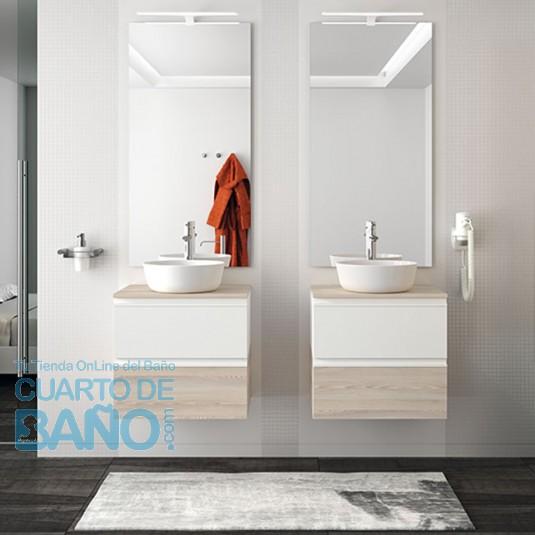 5f11302b7882 Mueble de baño SPIRIT Salgar suspendido 60 cm 2 Modulos BICOLOR con LAVABO