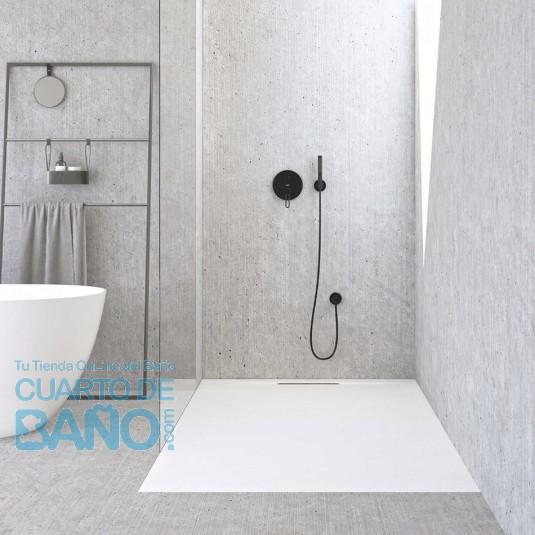 Plato de ducha resina STONE FLAT de de carga mineral SMART y gel coat Blanco