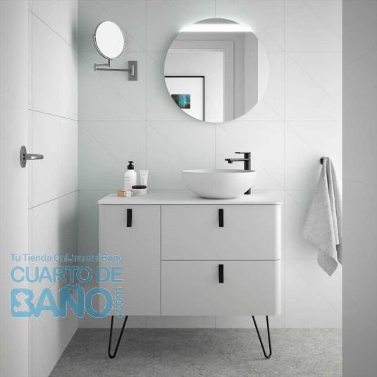 Mueble de baño UNIIQ Salgar 90 cm con LAVABO sobre encimera ALMENDRA