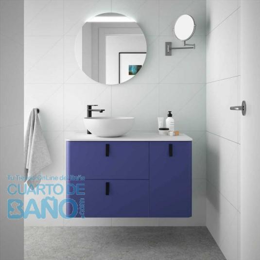 Mueble de baño UNIIQ Salgar 90 cm con LAVABO Sobrencimera AZUL ALTAMAR