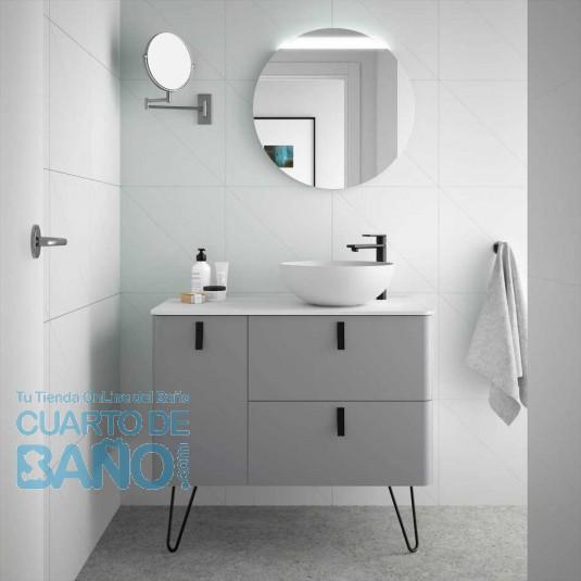 Mueble de baño UNIIQ Salgar 90 cm con LAVABO sobre encimera HUMO