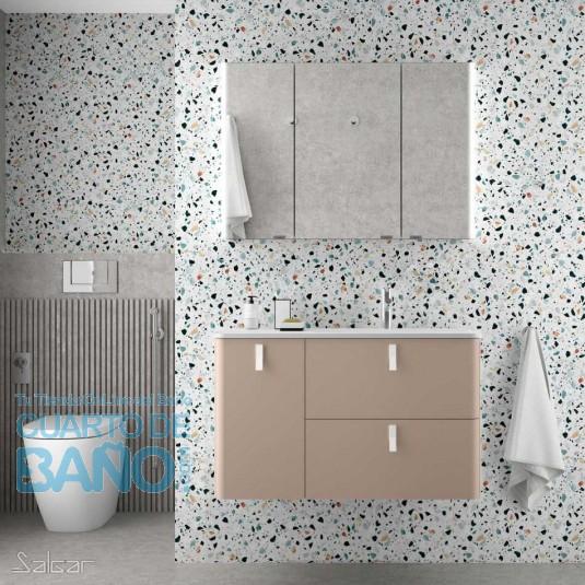 Mueble de baño UNIIQ Salgar 90 cm con LAVABO integrado MACCHIATO