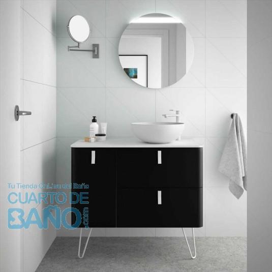 Mueble de baño UNIIQ Salgar 90 cm con LAVABO sobre encimera NEGRO