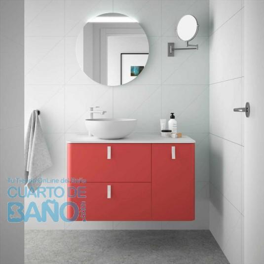 Mueble de baño UNIIQ ROJO Salgar 90 cm con LAVABO Sobrencimera