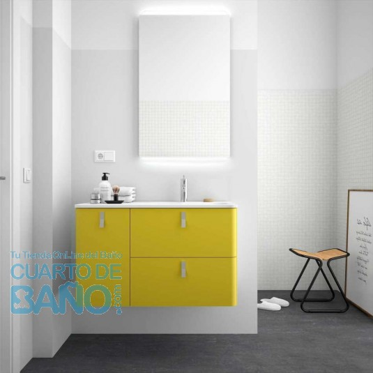 Mueble de baño UNIIQ Salgar 90 cm con LAVABO integrado VERDE ÁCIDO