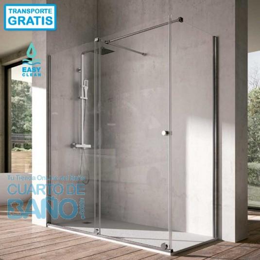 Mampara de ducha angular VOLARE VO102 VO103 de Kassandra. Frontal de puerta corredera mas fijo lateral