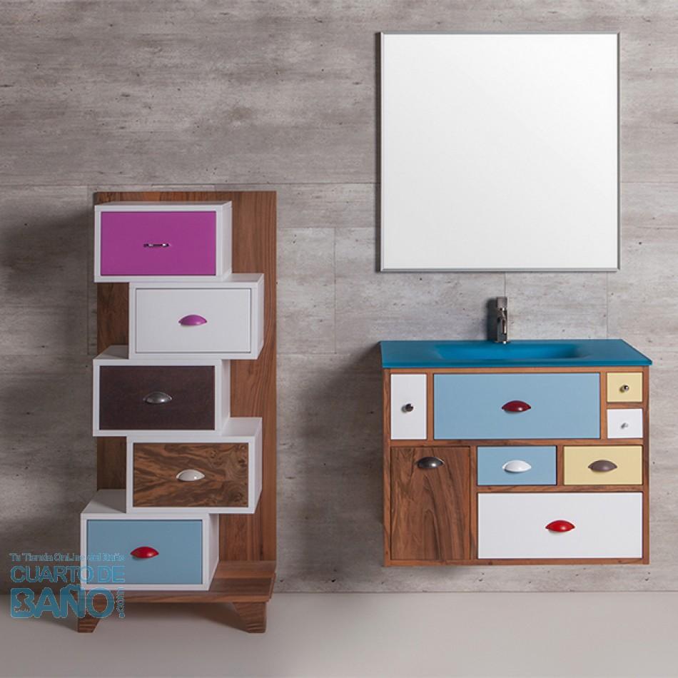 Mueble De Baño VINTAGE 11 Suspendido Con Lavabo De Cristal Azul Mate  Verrochio