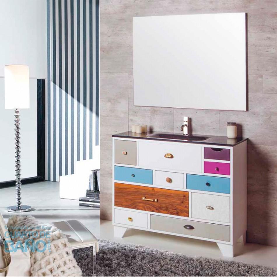 High Quality Mueble De Baño VINTAGE 06 Con Lavabo De Cristal Negro Y Patas Lacadas P07  Verrochio