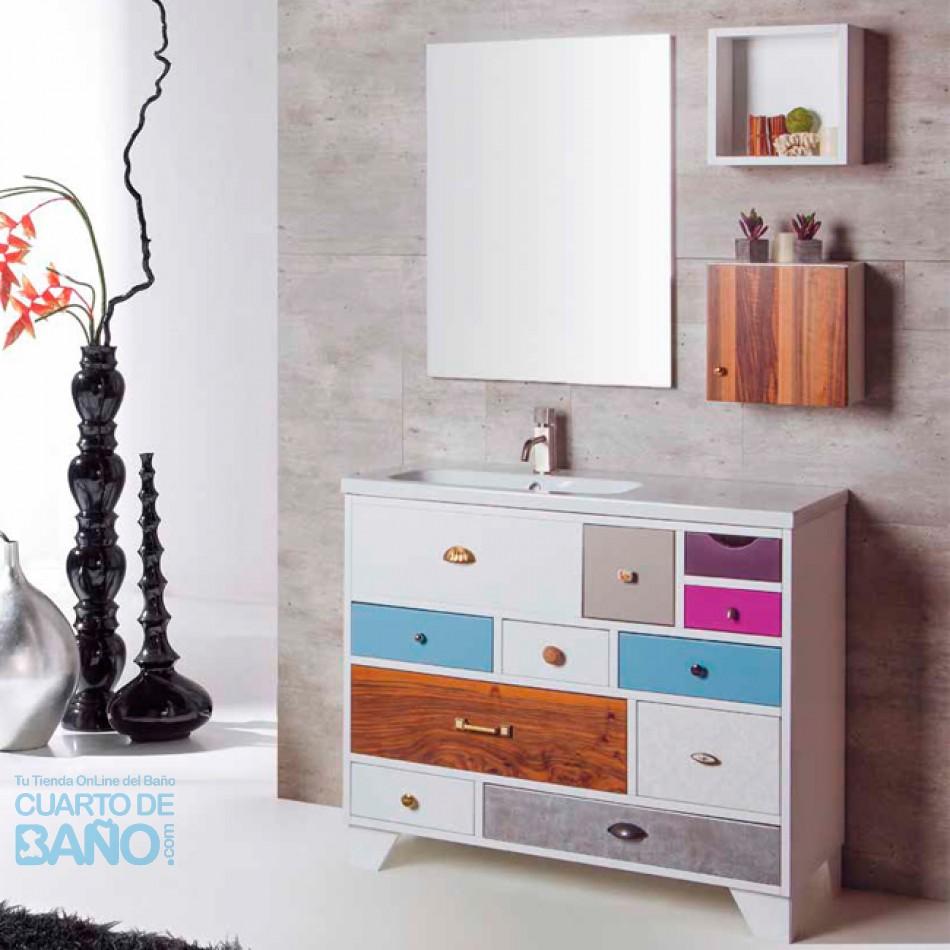 Mueble De Baño VINTAGE 07 Con Lavabo Desplazado Y Patas Lacadas P07  Verrochio