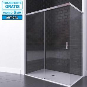 Mampara RIMO de Seviban angular de ducha hasta 240 cm de 3 hojas: 2 fijas y 1 corredera