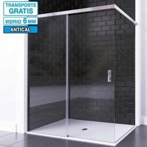 Mampara BATURA de Seviban fija mas corredera de ducha sin cierre hasta 140 cm