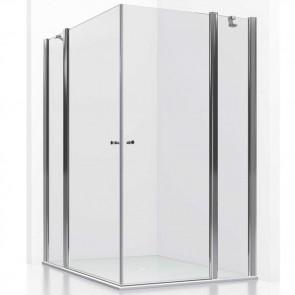 Mampara de ducha frontal GUADALQUIVIR GlassInox. Apertura esquina. Fijos con puertas Abatibles. A MEDIDA