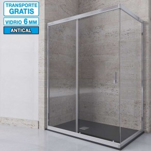 Mampara de ducha angular DAMARA de Seviban Corredera mas fijo a medida.