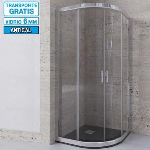 Mampara de ducha semicircular DELIA de Seviban. Dos puertas correderas
