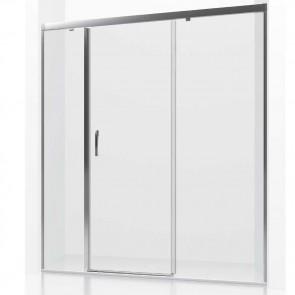 Mampara de ducha frontal corredera ANTARTICO GlassInox. Dos fijos más una puerta corredera central
