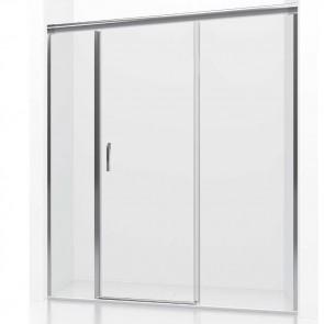 Mampara de ducha frontal corredera HURON GlassInox. Dos fijos más una puerta corredera central