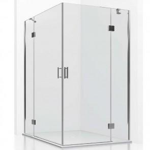Mampara acero INOX angular BORNEO GlassInox. Apertura esquina. Fijos con puertas Abatibles