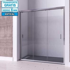 Mampara frontal de ducha ZIRCON de Seviban Tres puertas correderas