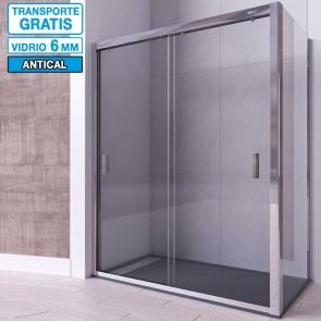 Mampara angular de ducha PERLA de Seviban Dos puertas correderas mas fijo