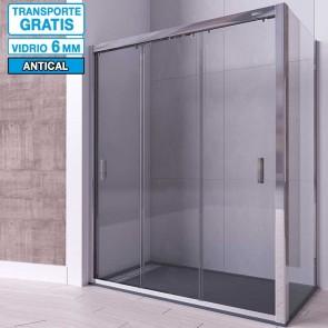 Mampara angular de ducha ZIRCON de Seviban Tres puertas correderas mas fijo