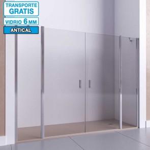 Mampara de ducha frontal con 2 puertas abatibles y 2 fijos DEDALO de Seviban.