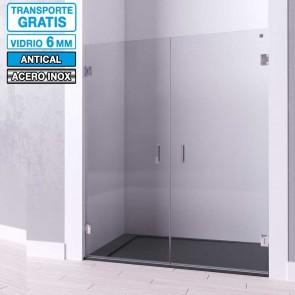 Mampara de ducha frontal con puertas de bisagras TEBAS de Seviban.