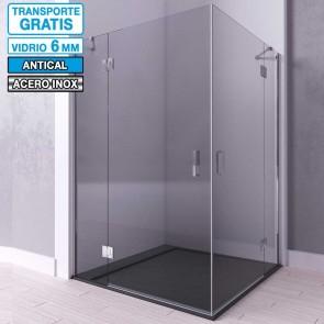 Mampara de ducha angular puertas bisagras y fijos IDOLA de Seviban.
