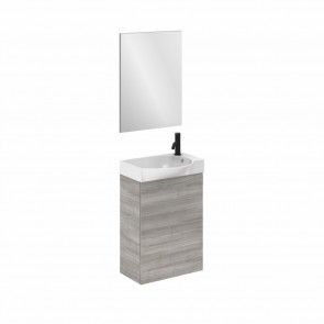 Mueble de baño MIKA fondo reducido de 24 cm. Ancho 45 cm con 1 puerta gris arenado con lavabo