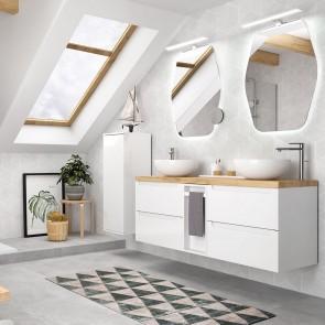 Mueble de baño MODULAR MONTERREY Salgar de 145 cm (60+25+60) con LAVABO doble