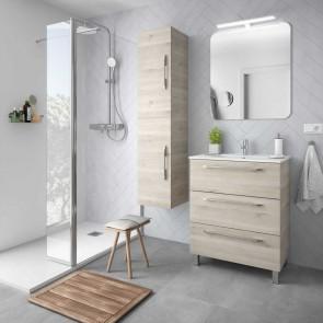 Mueble de baño FUSSION CHROME Salgar 70 cm 3 cajones lavabo centado