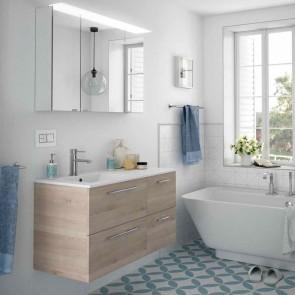 Mueble de baño MODULAR FUSSION CHROME Salgar 100 cm (60+40) lavabo desplazado
