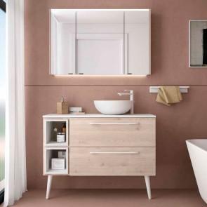 Mueble de baño MODULAR FUSSION CHROME Salgar 100 cm (80+25) lavabo desplazado