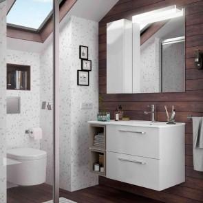 Mueble de baño MODULAR FUSSION CHROME Salgar 85 cm (60+25) lavabo desplazado