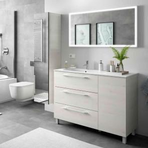Mueble de baño MODULAR FUSSION CHROME Salgar 120 (80+40) cm 3 cajones lavabo desplazado