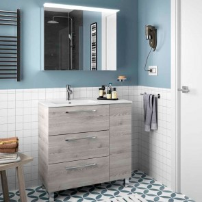 Mueble de baño MODULAR FUSSION CHROME Salgar 85 (60+25) cm 3 cajones lavabo desplazado