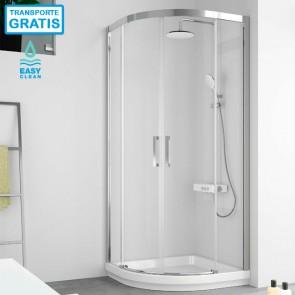 Mampara de ducha semicircular 400 CU130 de Kassandra. Dos puertas correderas.