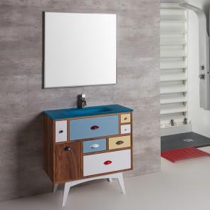 Mueble de baño VINTAGE 10 80 cm con lavabo cristal azul Verrochio