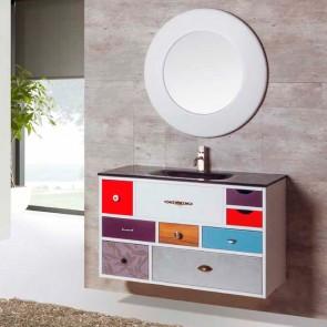 Mueble de baño VINTAGE 14 suspendido con lavabo cristal brillo Negro Verrochio