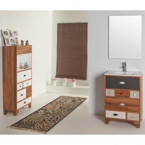 Mueble de baño VINTAGE 05 con patas P07 NOGAL ESPAÑOL y lavabo cerámico LINEA Verrochio