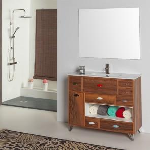 Mueble de baño VINTAGE 03 visto con patas cromadas P06 Verrochio
