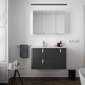 Mueble de baño UNIIQ ANTRACITA Salgar 90 cm con LAVABO Sobrencimera
