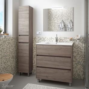 Mueble de baño ARENYS Salgar 80 cm con LAVABO Roble Eternity