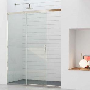 Mampara de ducha frontal ARRECIFE GlassInox. Frente fijo más puerta corredera