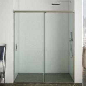 Mampara de ducha frontal ARTICO GlassInox. Frente fijo más puerta corredera