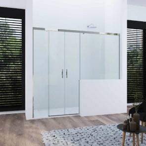 Mampara de ducha frontal corredera ATLANTICO GlassInox. Dos fijos más dos puertas correderas