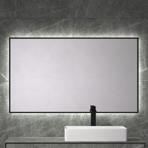 Espejo de baño BARBADOS 80x70 cm con marco metálico y luz LED