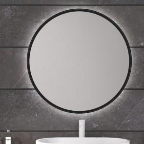 Espejo de baño BEQUIA Ø60 cm con marco metálico y luz LED