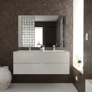 Conjunto Mueble de Baño BERK 120 cm con lavabo cerámico y espejo Luna